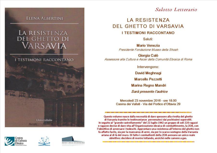 """Salotto Letterario """"La Resistenza del Ghetto di Varsavia. I Testimoni raccontano"""""""