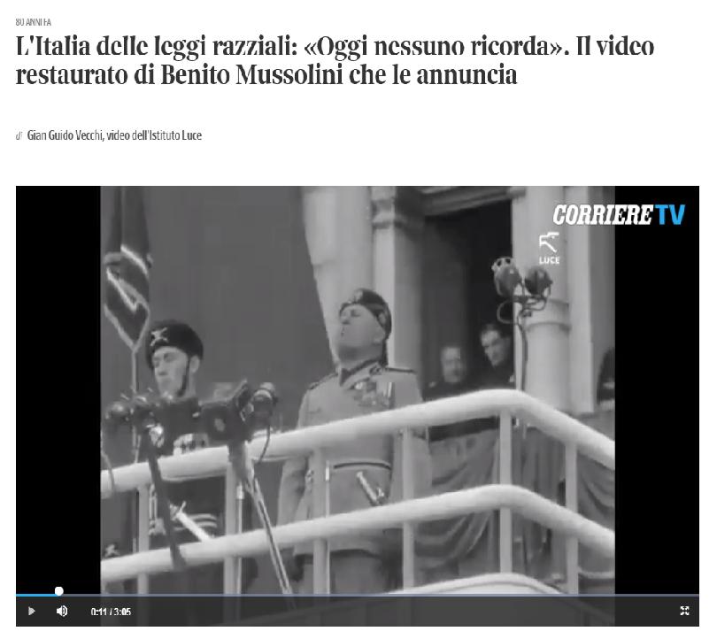 """""""1938 – La storia"""" dal 17 ottobre presso la Casina dei Vallati"""