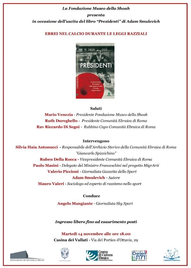 """Ebrei nel calcio durante le Leggi Razziali – in occasione dell'uscita del libro """"Presidenti"""" di Adam Smulevich"""