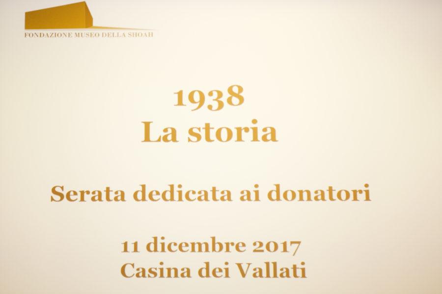 """Serata donatori mostra """"1938 LA STORIA"""""""