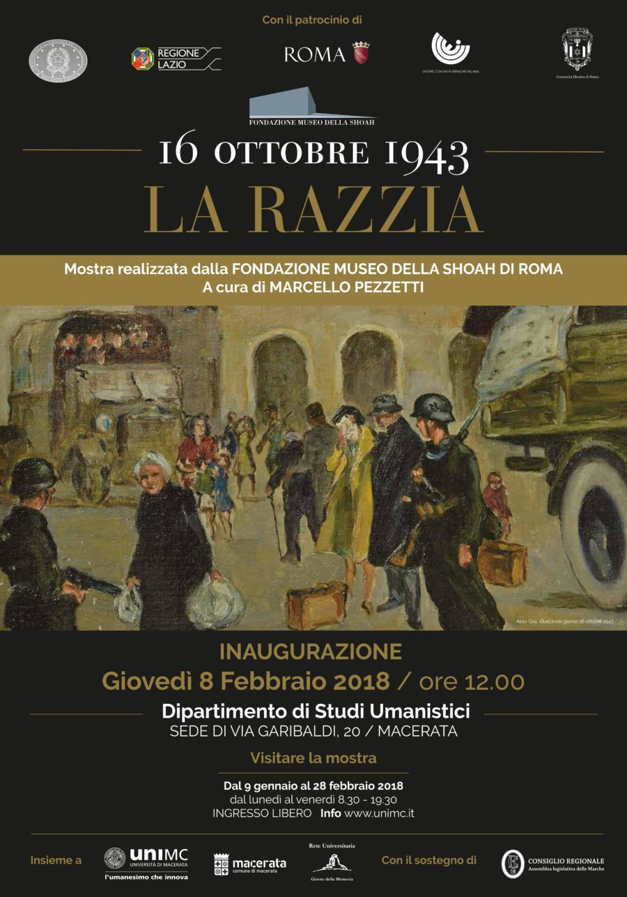 """Inaugurazione mostra itinerante """"16 ottobre 1943 – La razzia"""" presso l'Università degli Studi di Macerata"""