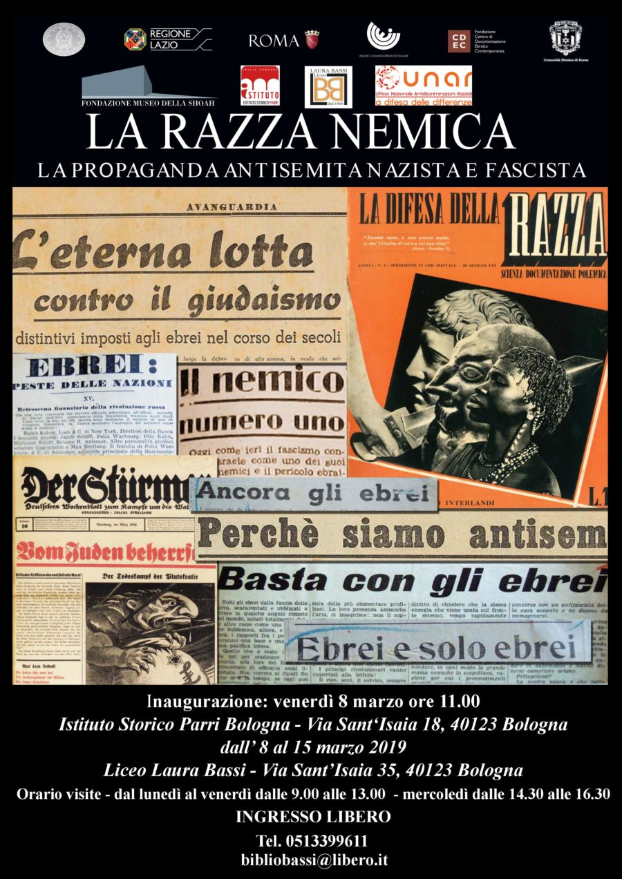 """MOSTRA ITINERANTE """"LA RAZZA NEMICA"""" IN COLLABORAZIONE CON UNAR – BOLOGNA: Liceo Laura Bassi e Istituto Storico Parri"""