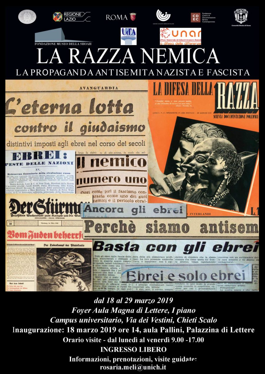 """MOSTRA ITINERANTE """"LA RAZZA NEMICA"""" IN COLLABORAZIONE CON UNAR: Università degli studi di Chieti Pescara"""